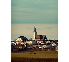 Small village skyline with mint sky | landscape photography Photographic Print
