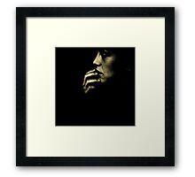 Portrait of young sad woman in darkness black and white 35mm film silver glatin analog photograph  Framed Print