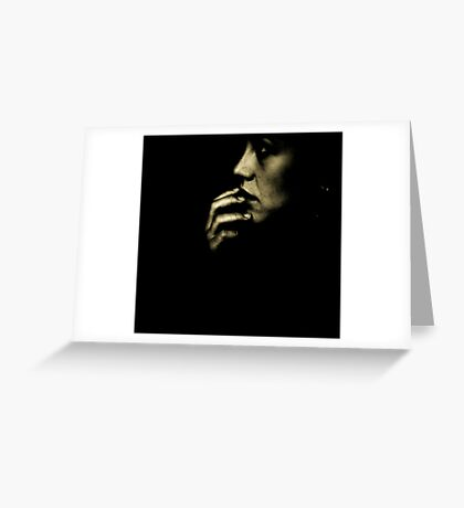Portrait of young sad woman in darkness black and white 35mm film silver glatin analog photograph  Greeting Card