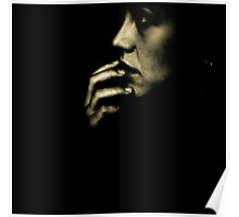 Portrait of young sad woman in darkness black and white 35mm film silver glatin analog photograph  Poster