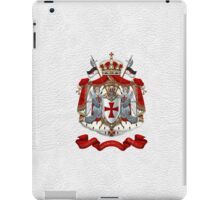 Knights Templar - Coat of Arms over White Leather iPad Case/Skin