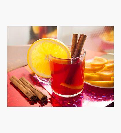 Fruit citrus tea with cinnamon and orange Photographic Print