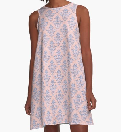 Damask Pattern | Rose Quartz and Serenity | Pantone Colors of the Year 2016 A-Line Dress