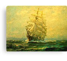 Sailing ship crosses the Atlantic Canvas Print