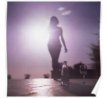 Young lady by pool color film Hasselblad medium format  fine art analog female nudes and erotica Poster