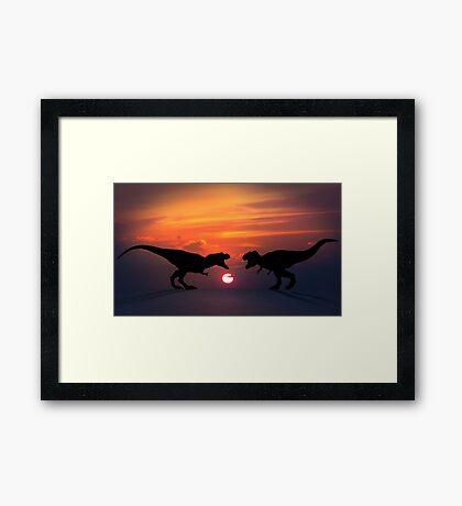 Tyrannosaurus - Sunset Showdown Framed Print