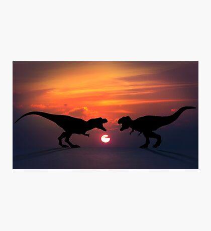 Tyrannosaurus - Sunset Showdown Photographic Print