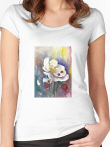 Strawberry - White Flowers - Original Watercolor Painting Women's Fitted Scoop T-Shirt
