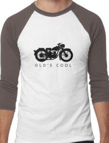 Old's Cool - Vintage Motorcycle Silhouette (Black) Men's Baseball ¾ T-Shirt