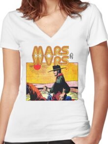 Mars Travels. Women's Fitted V-Neck T-Shirt