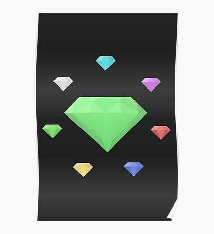 Chaos Emeralds (black) Poster