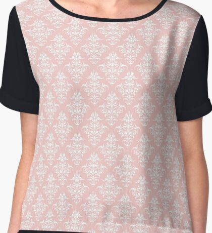 Damask Pattern | Rose Quartz and White | Pantone Color of the Year 2016 Chiffon Top