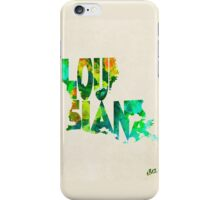 Louisiana Typographic Watercolor Map iPhone Case/Skin
