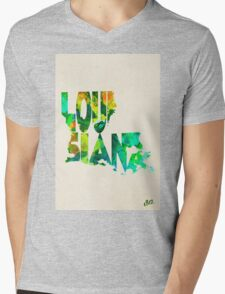 Louisiana Typographic Watercolor Map Mens V-Neck T-Shirt