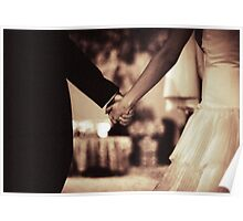 Bride and groom holding hands black and white film silver gelatin sepia fine art analog wedding photo Poster