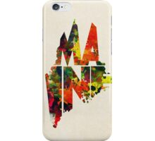 Maine Typographic Watercolor Map iPhone Case/Skin