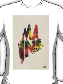 Maine Typographic Watercolor Map T-Shirt