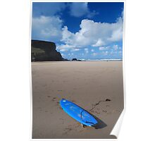 Blue Board on the Blue Beach at Mawgan Porth Poster