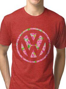 Watercolor Rose Volkswagen VW logo Tri-blend T-Shirt