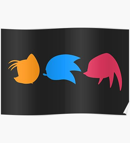 Sonic, Knuckles and Tails (black) Poster