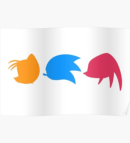 Sonic, Knuckles and ails (white) Poster