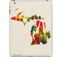 Michigan Typographic Watercolor Map iPad Case/Skin