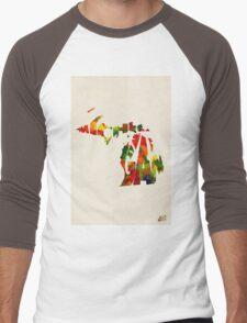 Michigan Typographic Watercolor Map Men's Baseball ¾ T-Shirt