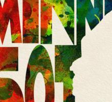 Minnesota Typographic Watercolor Map Sticker