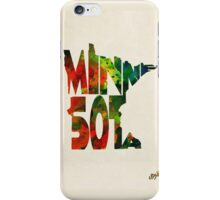 Minnesota Typographic Watercolor Map iPhone Case/Skin