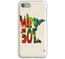 Minnesota Typographic Watercolor Map iPhone Case/Skin