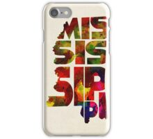 Mississippi Typographic Watercolor Map iPhone Case/Skin