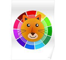 Color Wheel Lion Poster