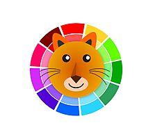 Color Wheel Lion Photographic Print