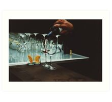 Drinks bar in party xpro cross processed c41 slide film analog photograph Art Print