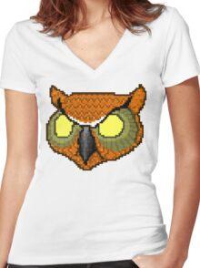 Hotline Miami rasmus owl mask Women's Fitted V-Neck T-Shirt