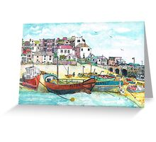 St Ives Harbour England Greeting Card