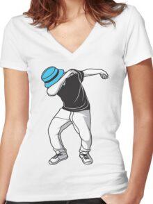 Dabbing Guy Hipster Meme Women's Fitted V-Neck T-Shirt
