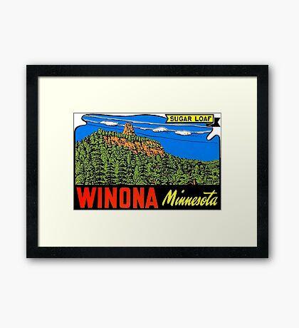 Winona Minnesota Sugar Loaf Vintage Travel Decal Framed Print