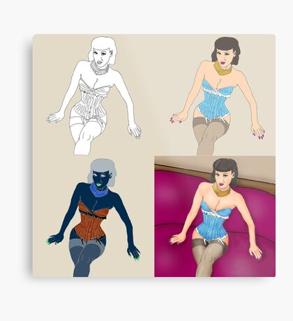 Girl x4 Metal Print