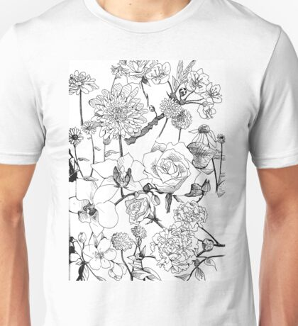 Black and White Floral Unisex T-Shirt