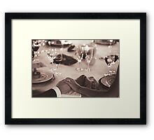 Bride and groom holding hands in marriage banquet black and white film silver gelatin fine art analog wedding photo Framed Print