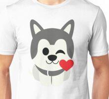Siberian Husky Emoji Flirting and Blowing Kiss Unisex T-Shirt