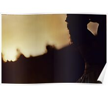 Bride and groom kiss silhouette color c41 film handmade ra4 print fine art analog wedding photo Poster