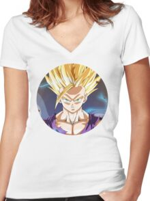 SSJ2 Gohan Women's Fitted V-Neck T-Shirt