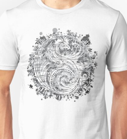 Sky Above Me Earth Below Me Fire Within Me Gray Dragon Swirl Unisex T-Shirt