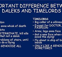 IMPORTANT DIFFERENCE BETWEEN TIMELORD AND DALEK by importantdoctor
