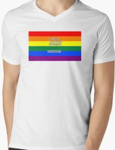 Let's get one thing straight, I'm not - LGBT flag Mens V-Neck T-Shirt