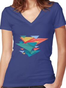 Paper Airplane 49 Women's Fitted V-Neck T-Shirt