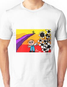 sunset on the horizon boy flowers tree Unisex T-Shirt