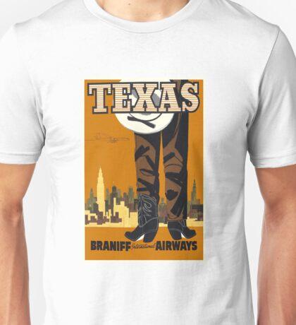 Vintage Texas Travel Print Unisex T-Shirt